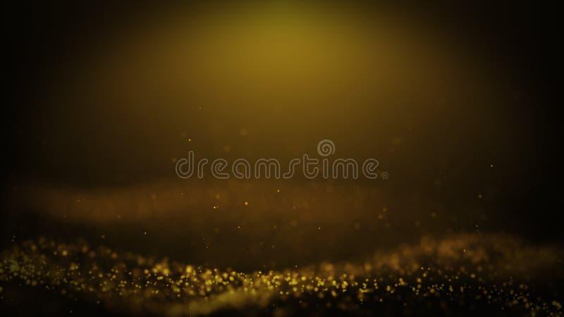 普遍的抽象背景光亮的金子微尘担任主角火花挥动3d动画 库存例证