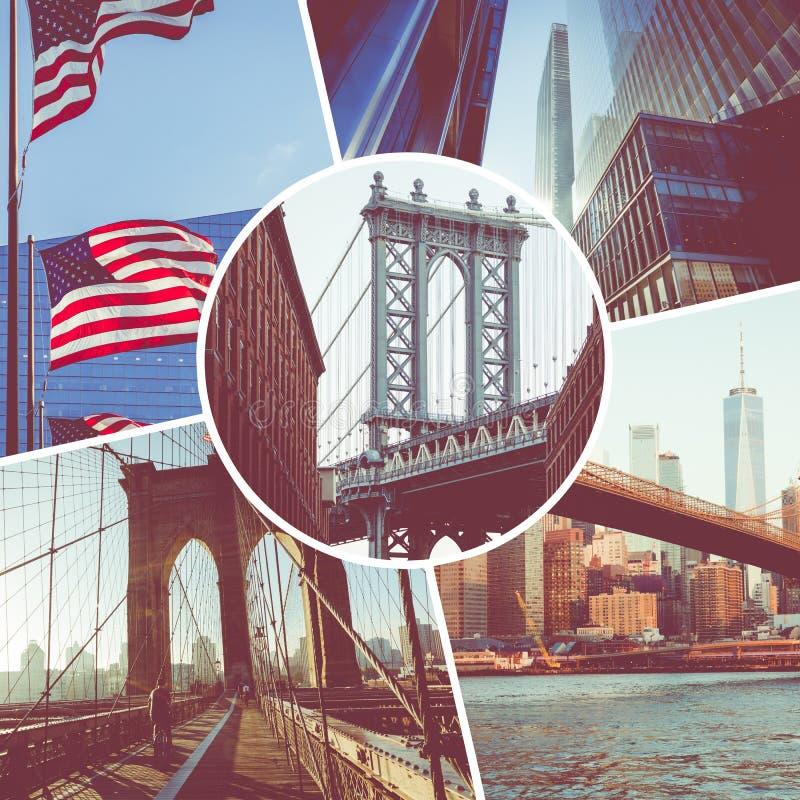 普遍的旅游目的地拼贴画在纽约 ?? E 免版税库存照片
