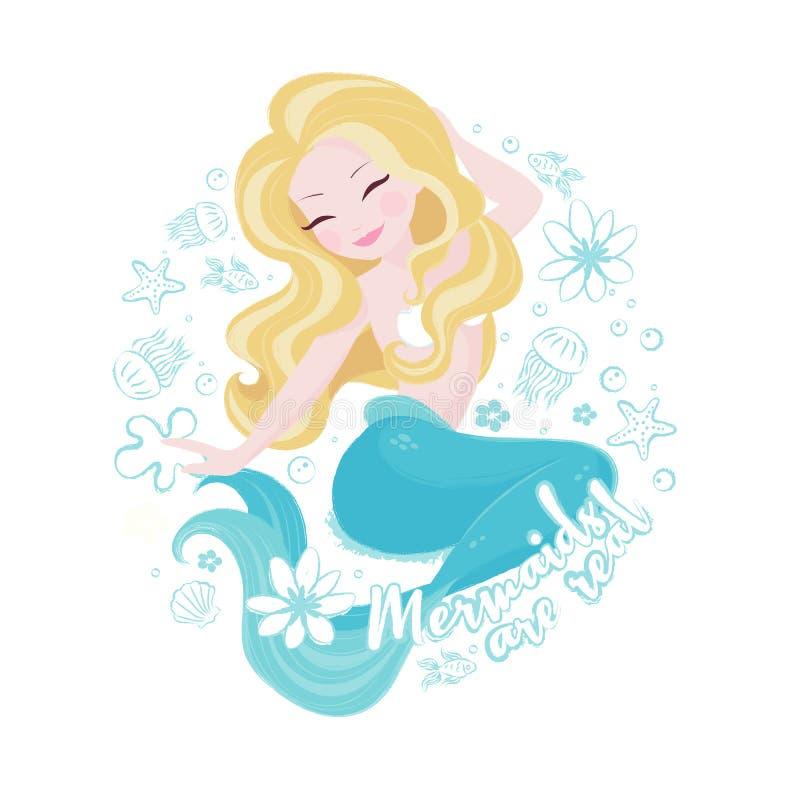 普遍的淡色美人鱼集合 在白色背景的愉快和美丽的美人鱼 T恤杉的印刷品或孩子塑造艺术品,孩子 向量例证