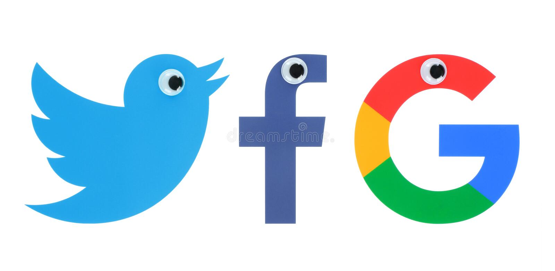 普遍的社会媒介商标的汇集与眼睛的 库存照片