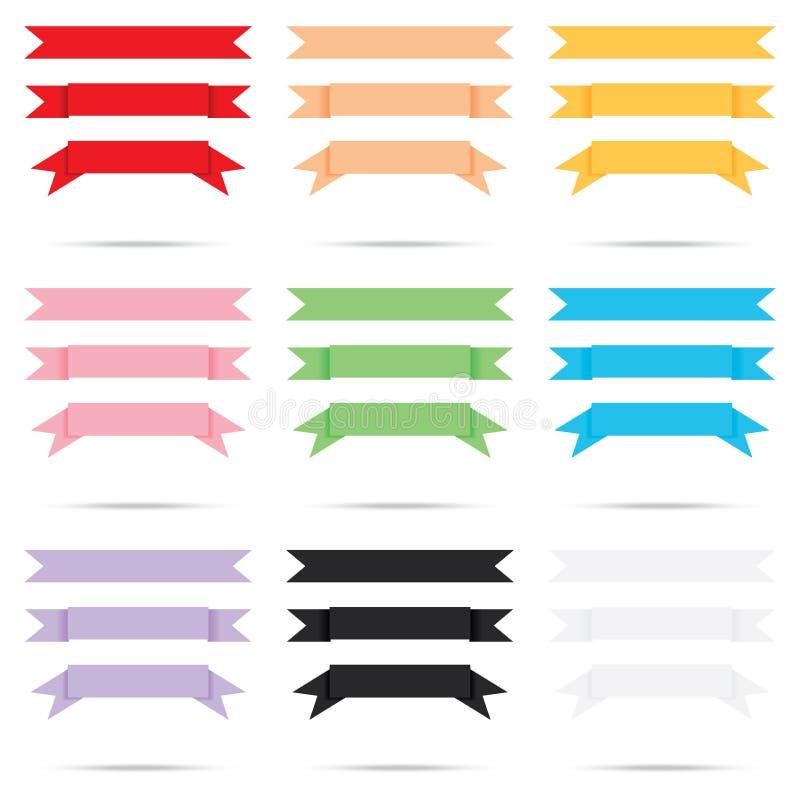 普遍的颜色组装丝带老纸葡萄酒标签横幅孤立 库存例证
