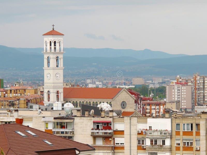 普里什蒂纳,科索沃- 2016年6月:保佑的真福加尔各答的德肋撒天主教大教堂  免版税库存图片