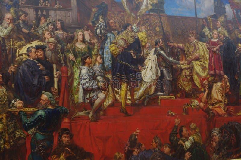 普鲁士人的尊敬,在帆布绘画的油由波兰画家扬・马特伊科 免版税库存照片