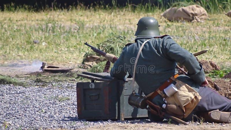普鲁士人的战士带领与敌人的争斗 图库摄影