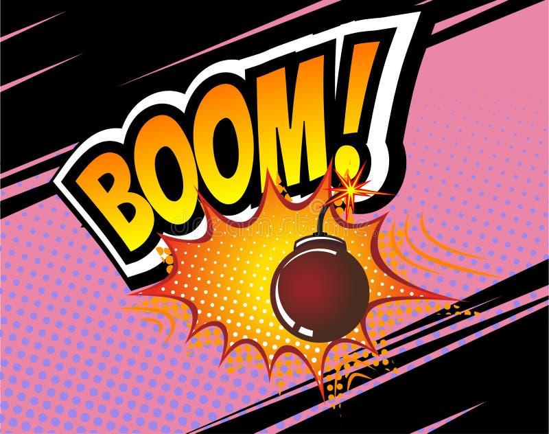 景气 传染媒介减速火箭的可笑的讲话泡影,动画片漫画模板 书设计元素大模型  音响效果,炸弹 向量例证