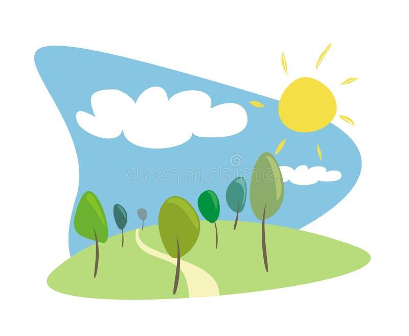 晴朗日的树丛 向量例证