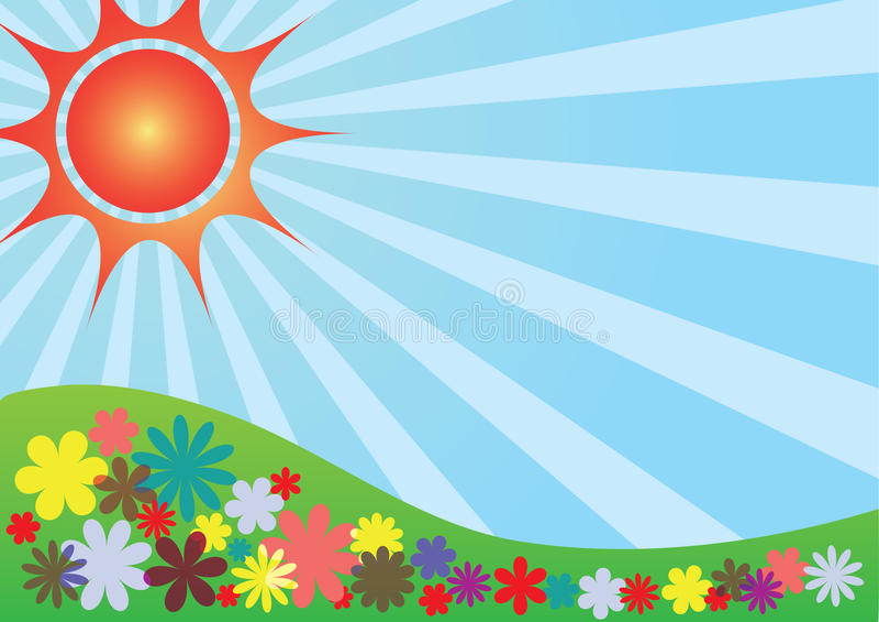 晴朗横向的夏天 向量例证
