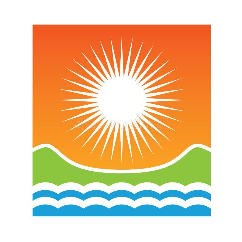 晴朗海岸的徽标 库存例证