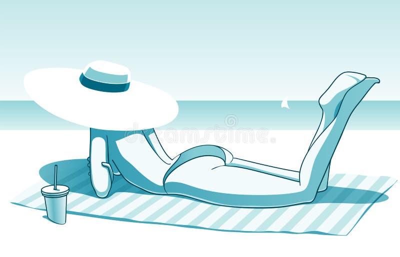 晴朗海滩的女孩 向量例证