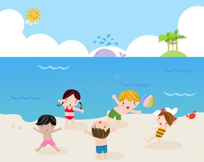 晴朗海滩的子项 库存例证