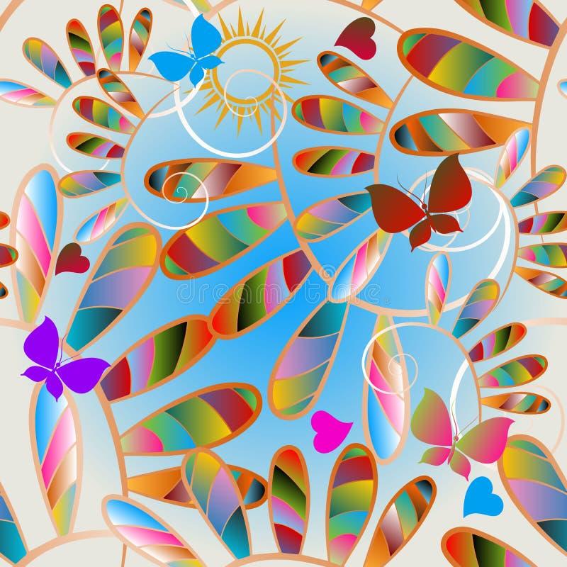 晴朗的五颜六色的花和蝴蝶无缝的样式 r 装饰春天夏天明亮的背景 ? 皇族释放例证