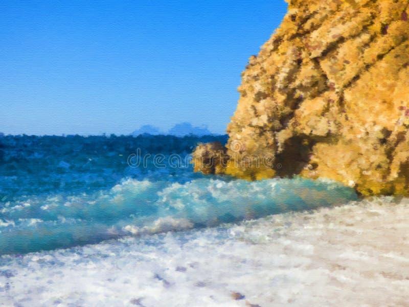 晴朗的海滩干燥刷子水彩绘画 免版税库存照片
