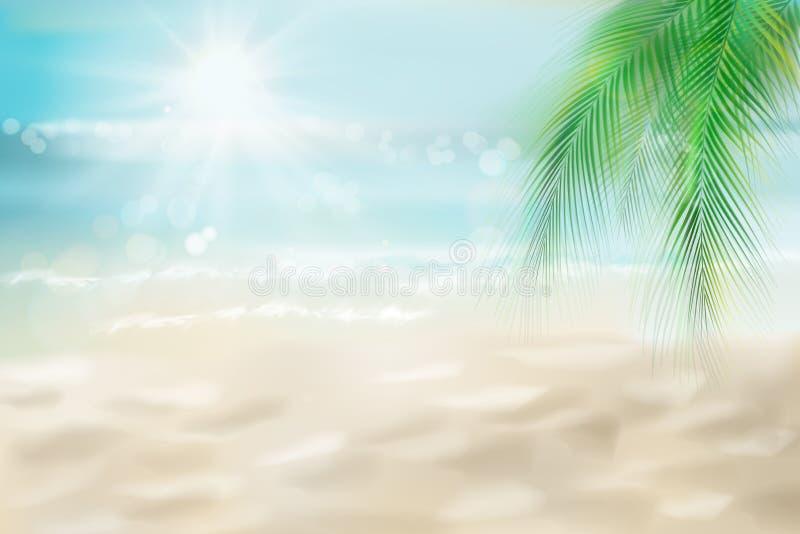 晴朗的海滩的抽象看法 r 向量例证