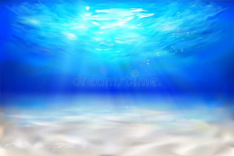 晴朗的海滩 蓝色颜色虚拟水下的视图 也corel凹道例证向量 向量例证