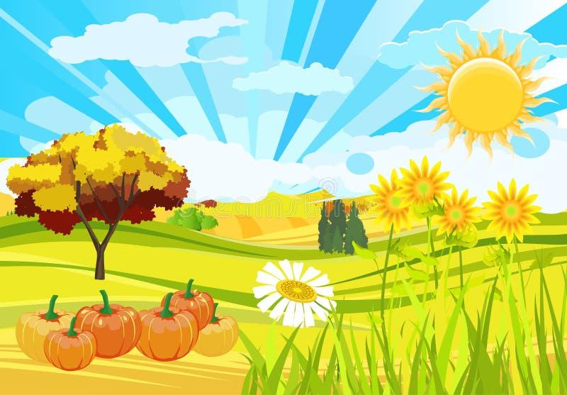 晴朗的秋天季节自然滑稽的背景 库存例证
