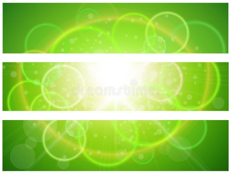 晴朗的绿色横幅 向量例证