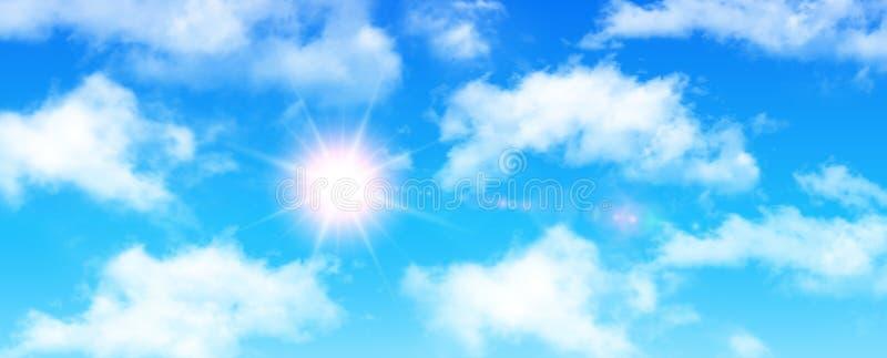 晴朗的背景、蓝天与白色云彩和太阳 皇族释放例证