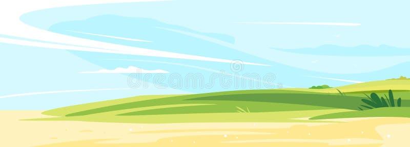 晴朗的草坪风景bachground 皇族释放例证