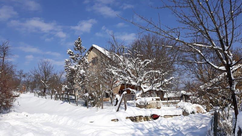 晴朗的蓝天的雪房子 免版税库存照片