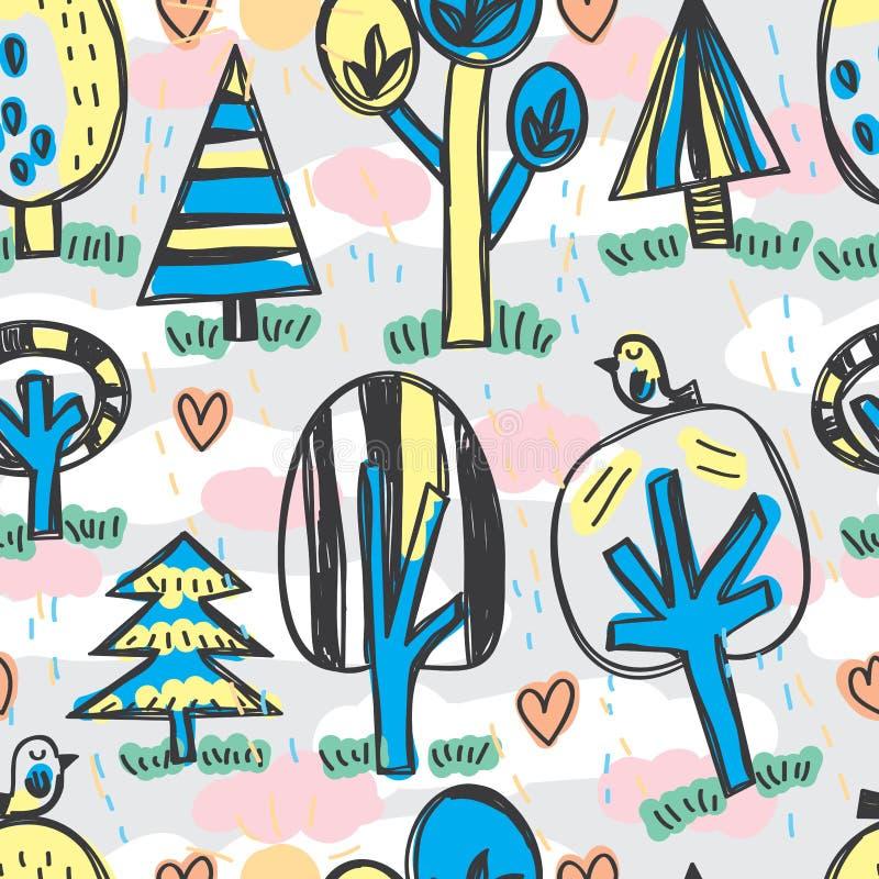 晴朗的雨豆树密林鸟自由图画无缝的样式 皇族释放例证