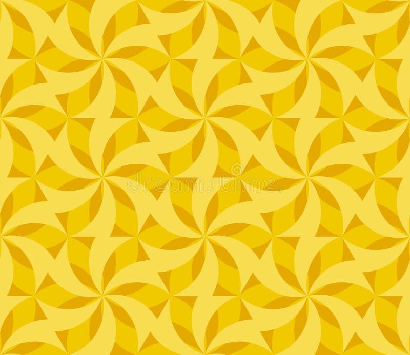 晴朗的黄色花卉几何无缝的样式 皇族释放例证