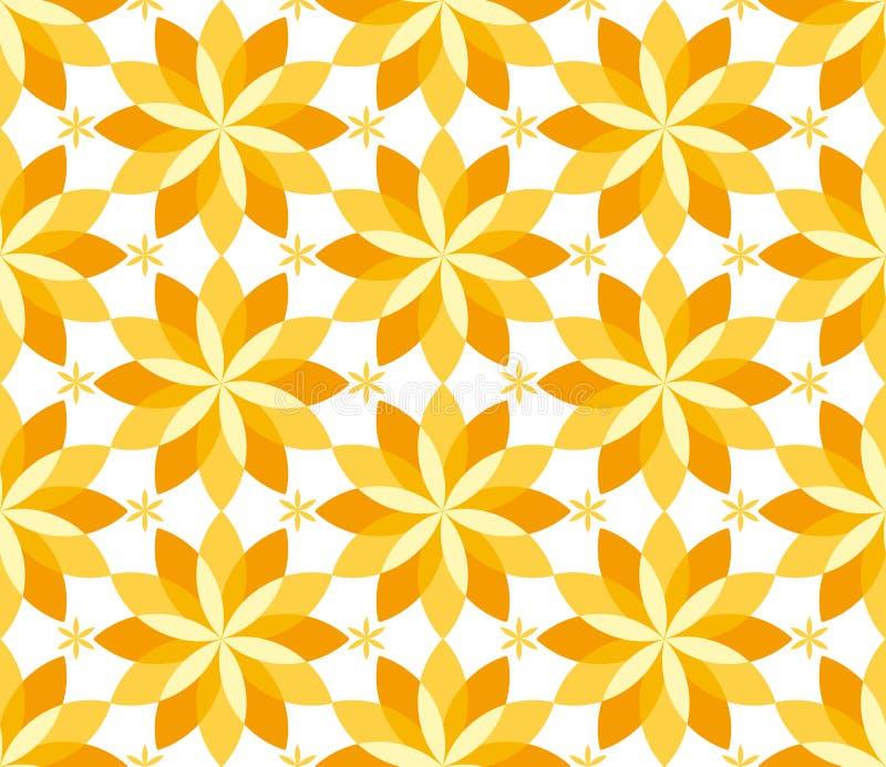 晴朗的黄色花卉几何无缝的样式 库存例证