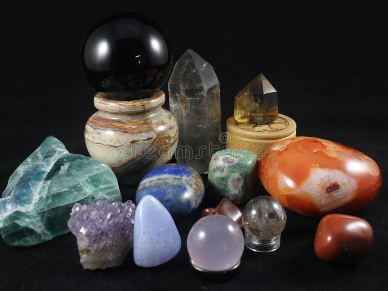 水晶宝石收藏 免版税库存图片