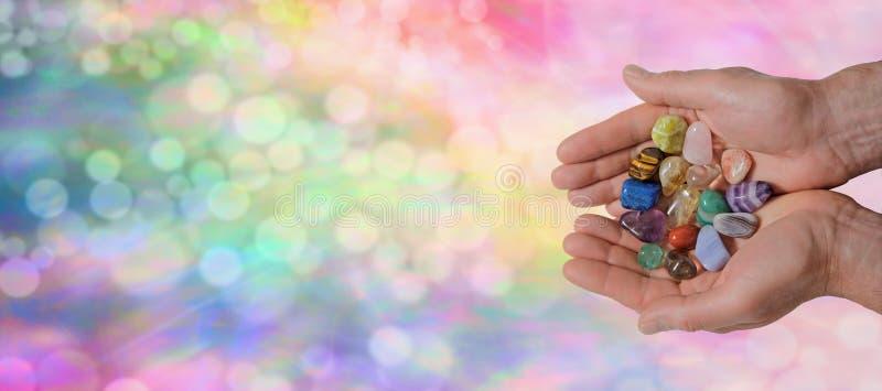水晶愈疗者的网站横幅 免版税库存照片