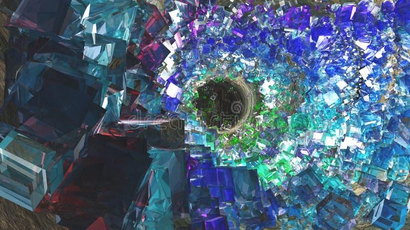 水晶被填装的洞穴 库存例证
