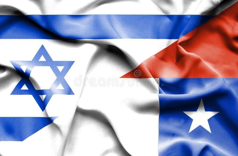 智利和以色列的挥动的旗子 皇族释放例证