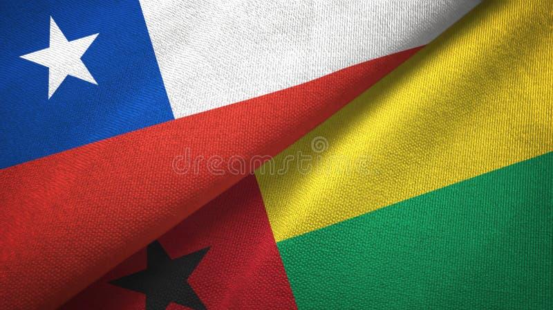 智利和几内亚比绍两旗子纺织品布料,织品纹理 库存例证