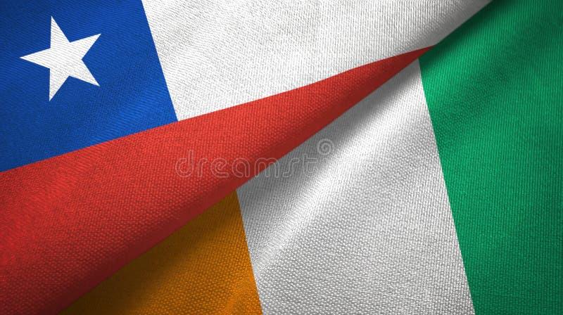 智利和科特迪瓦象牙海岸两旗子织物纹理 向量例证