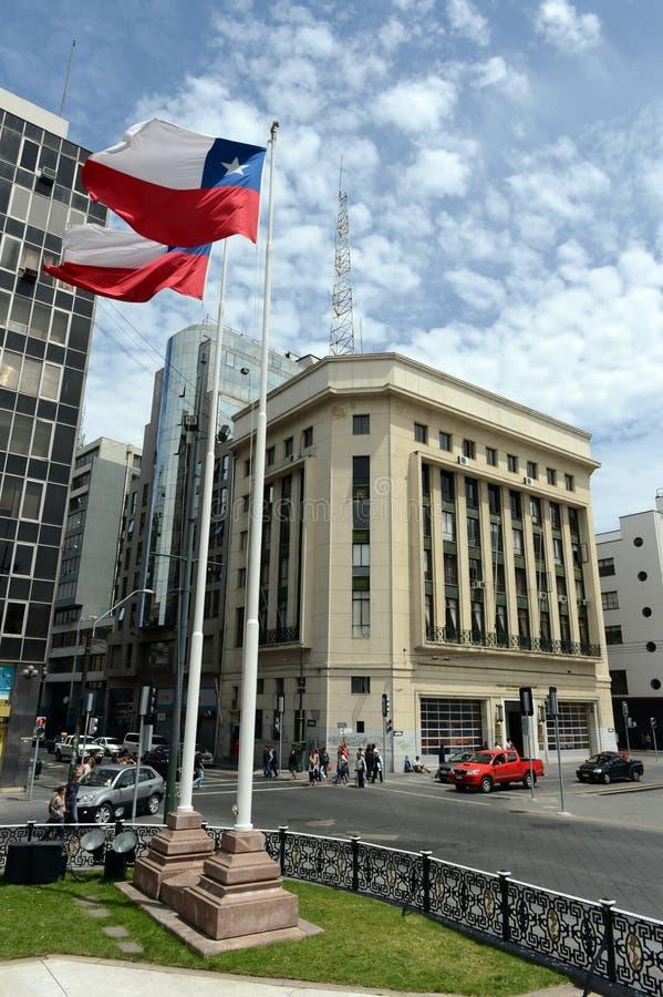 智利国旗,广场Sotomayor,瓦尔帕莱索 免版税图库摄影