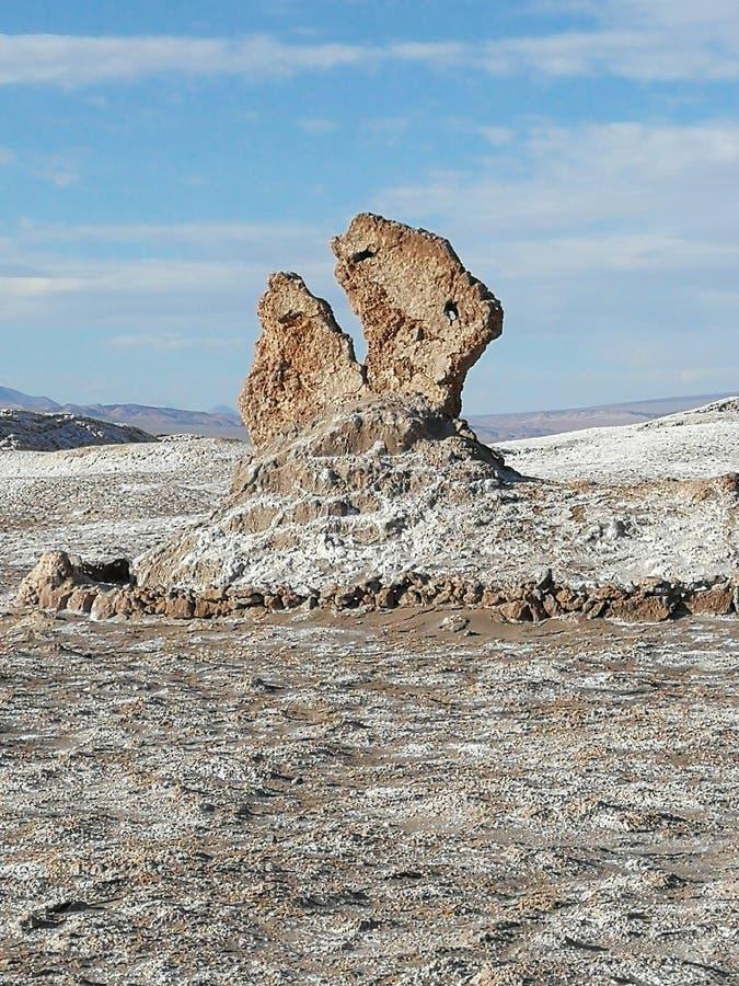智利圣佩德罗阿塔卡马沙漠月亮谷Pacman岩石雕塑 库存照片