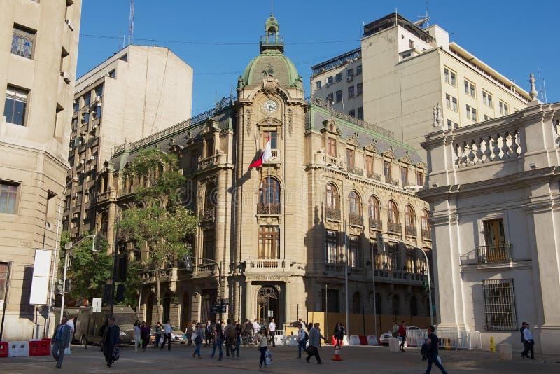 智利圣地亚哥阿尔马斯广场Intendencia殖民建筑外观 库存图片