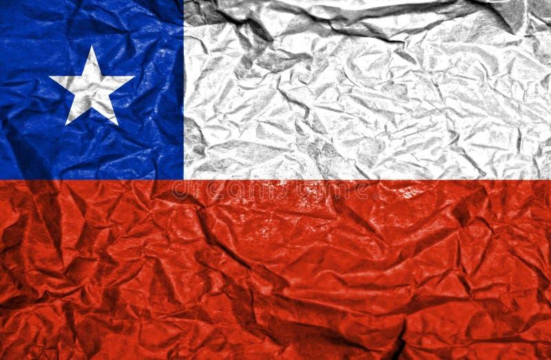 智利在老压皱纸背景的葡萄酒旗子 库存照片