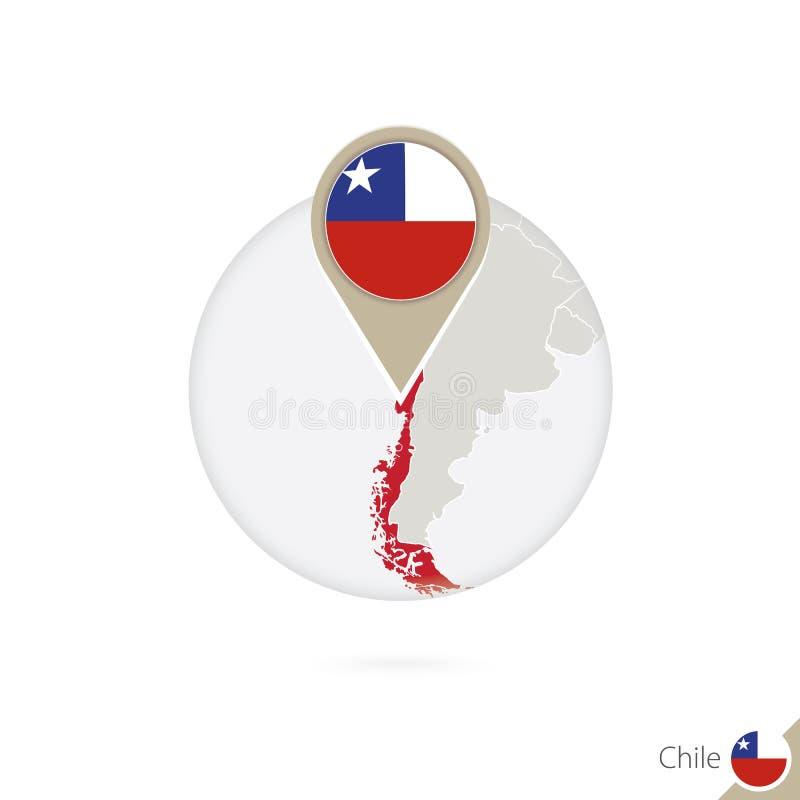 智利地图和旗子在圈子 智利,智利的地图旗子别针 映射 皇族释放例证