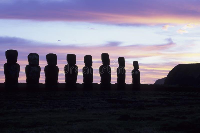 智利复活节岛moai 免版税库存照片