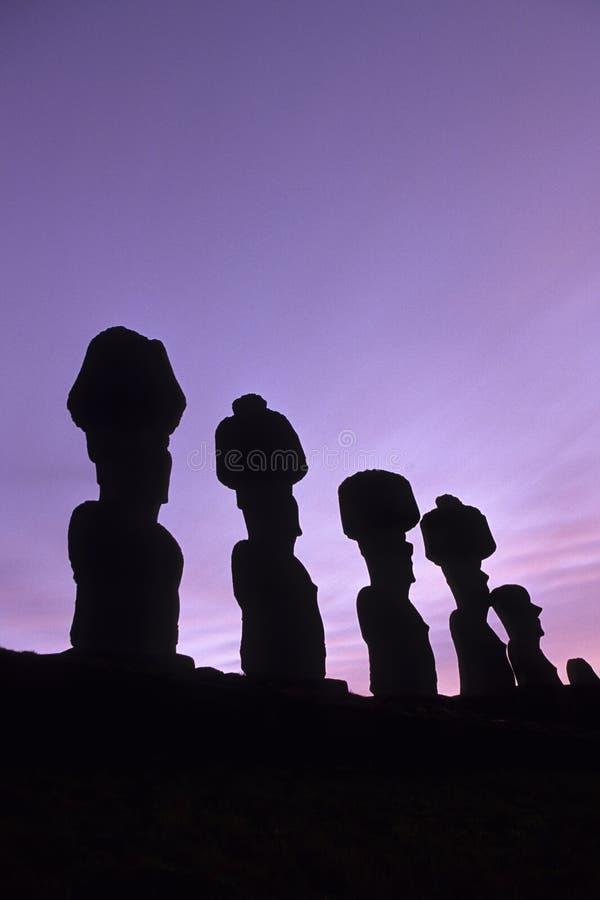 智利复活节岛moai 免版税库存图片