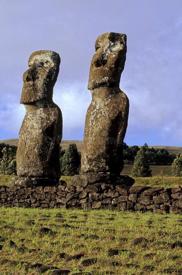 智利复活节岛moais 图库摄影