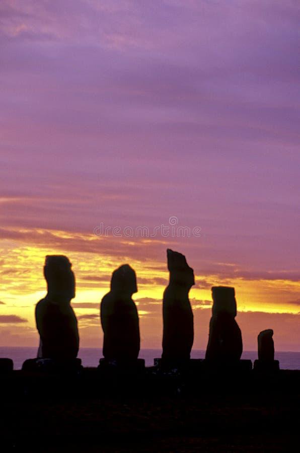 智利复活节岛moais 免版税库存图片