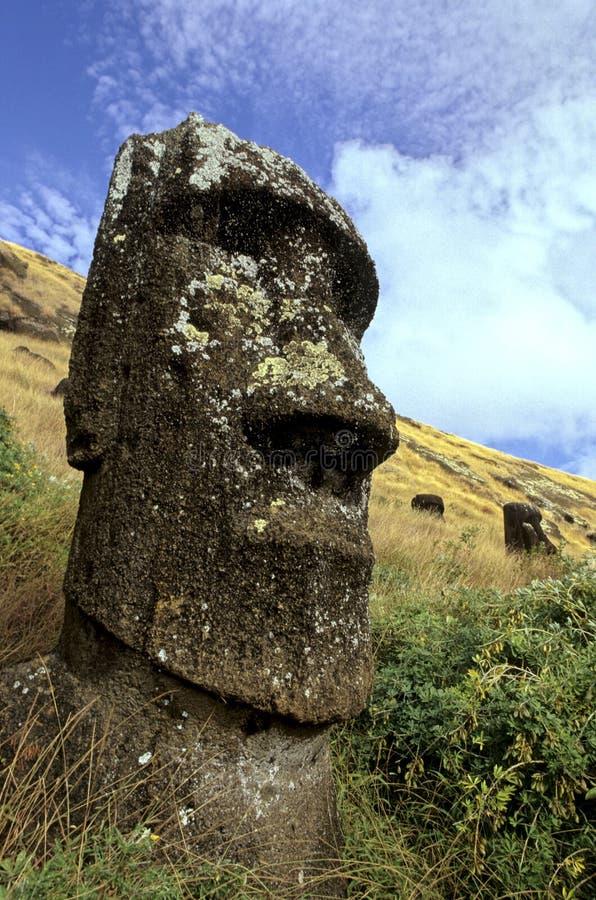 智利复活节岛moais 免版税库存照片