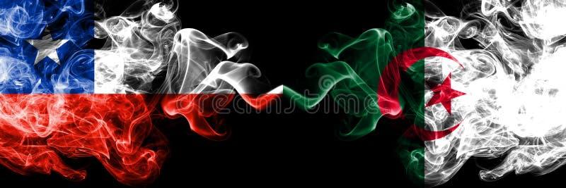 智利对阿尔及利亚,肩并肩被安置的阿尔及利亚的发烟性神秘的旗子 厚实色柔滑抽阿尔及利亚的组合,阿尔及利亚和 库存例证