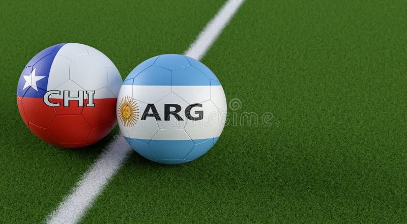 智利对 阿根廷足球比赛-在智利和阿根廷全国颜色的足球在足球场 皇族释放例证