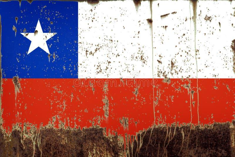 智利的国旗金属纹理的 库存图片