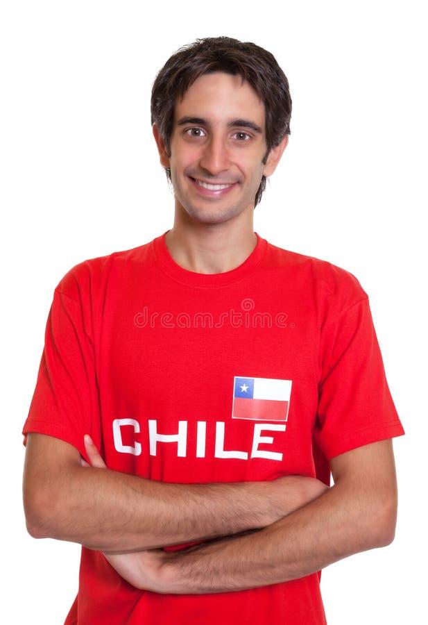 从智利的常设爱好者有横渡的胳膊的 库存照片