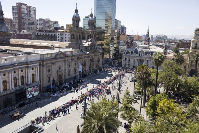 智利的弗朗西斯教皇参观 免版税库存照片