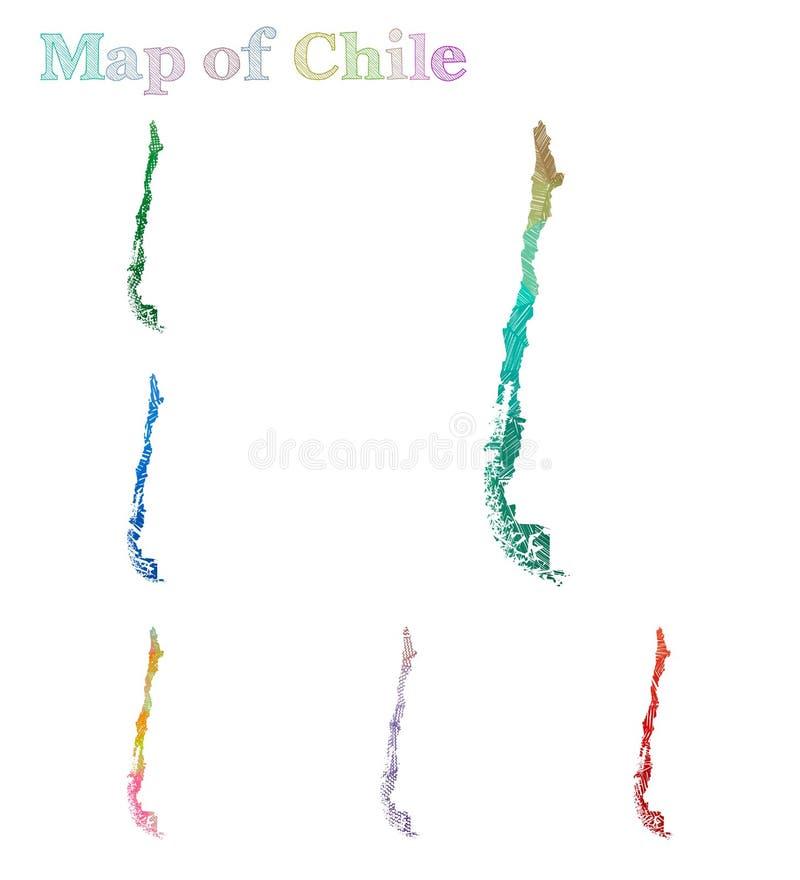 智利的手拉的地图 向量例证