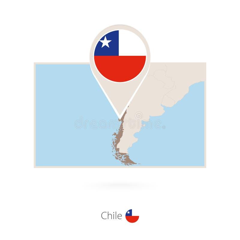 智利的长方形地图有智利的别针象的 向量例证