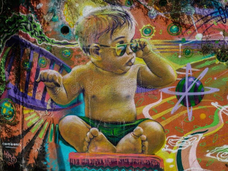 智利街艺术凉快的婴孩街道画 库存图片